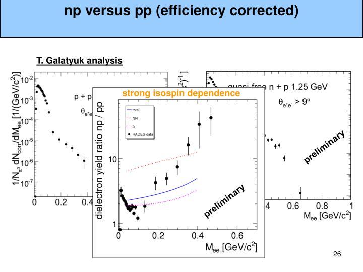 np versus pp (efficiency corrected)