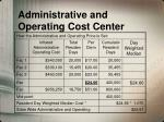 administrative and operating cost center1