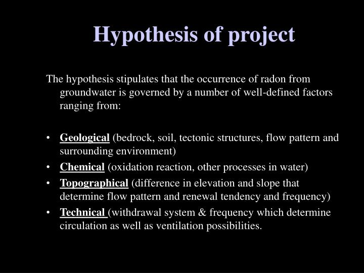 Hypothesis of project