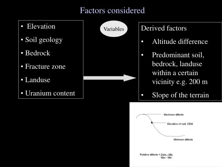Factors considered