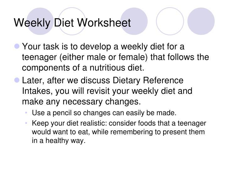 Weekly Diet Worksheet