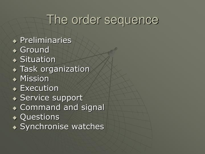 The order sequence