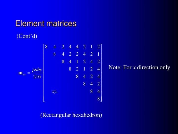 Element matrices
