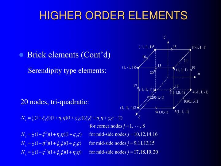 HIGHER ORDER ELEMENTS