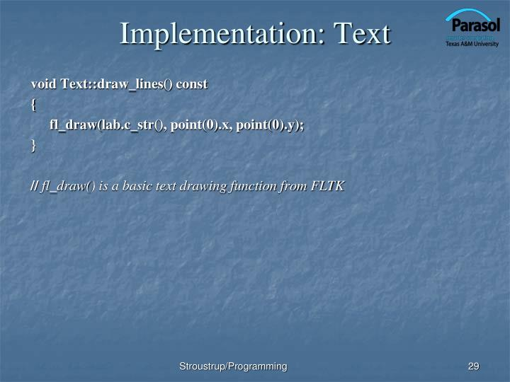 Implementation: Text