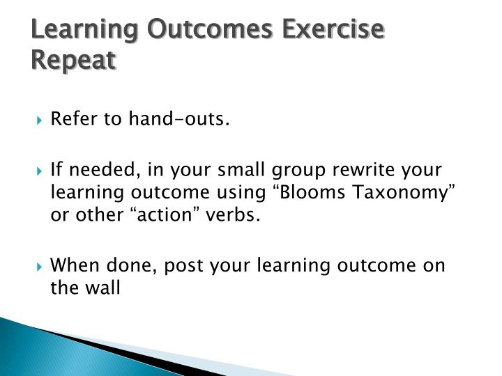 Learning Outcomes Exercise Repeat
