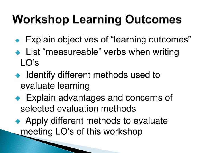 Workshop learning outcomes