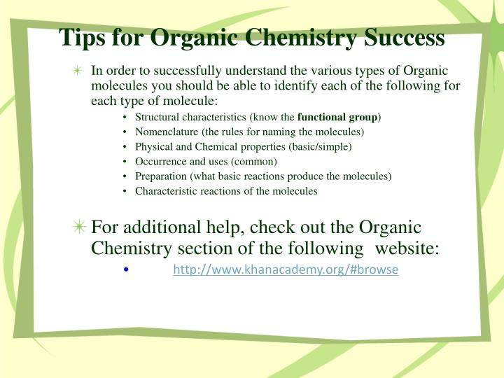 Tips for organic chemistry success