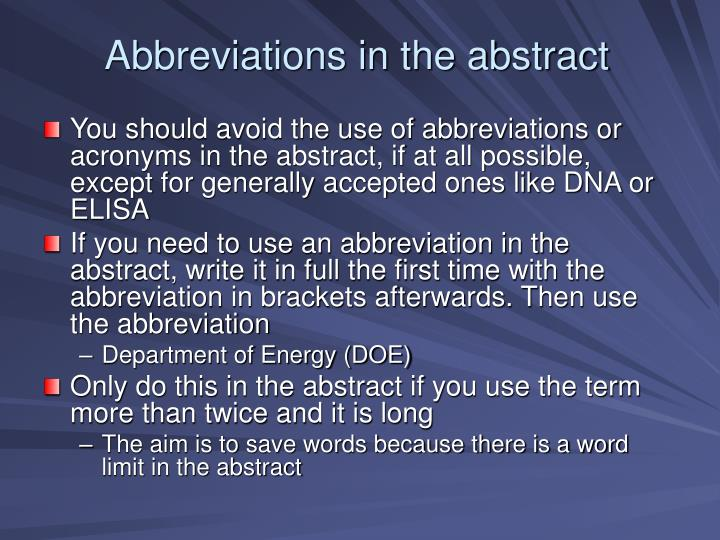 Abbreviations in the abstract