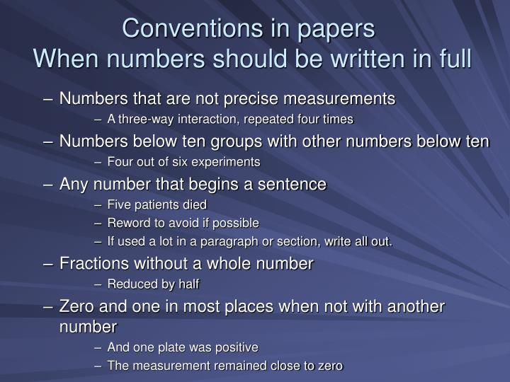 Conventions in papers