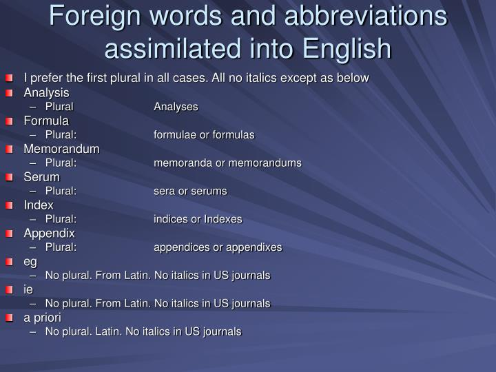 Foreign words and abbreviations assimilated into English