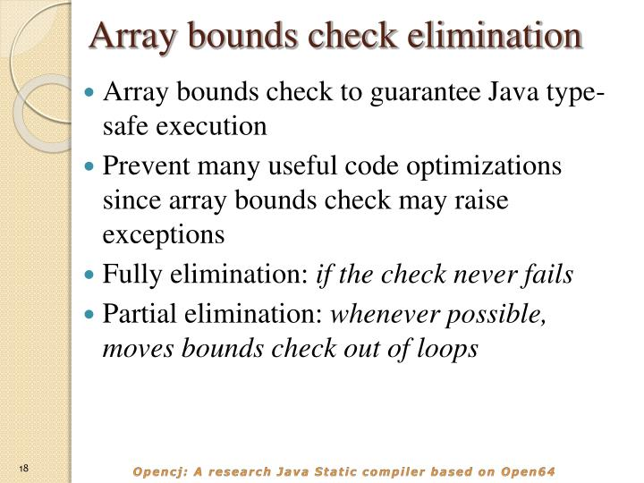 Array bounds check elimination