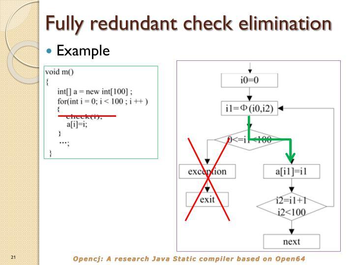 Fully redundant check elimination