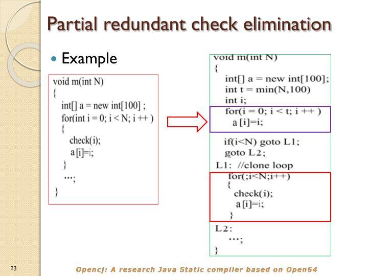 Partial redundant check elimination