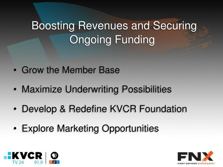 Boosting revenues and securing ongoing funding