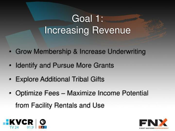 Goal 1 increasing revenue