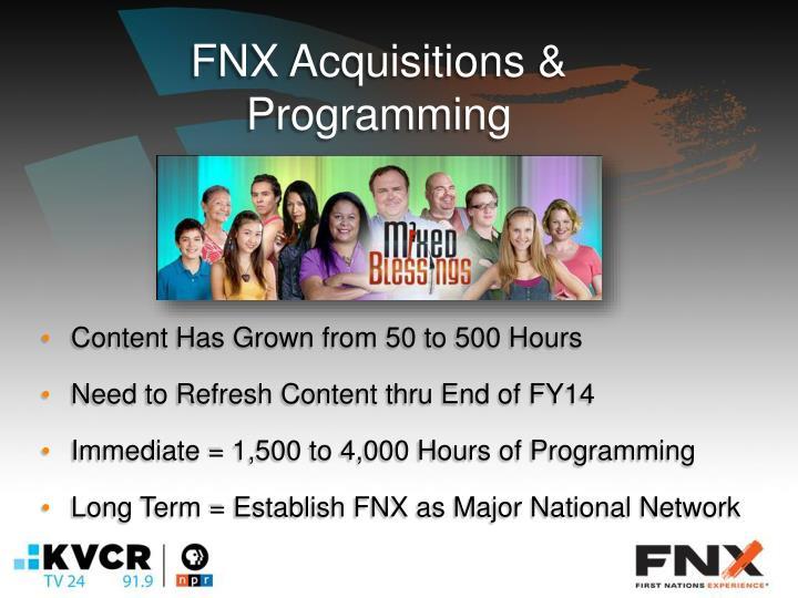 FNX Acquisitions & Programming