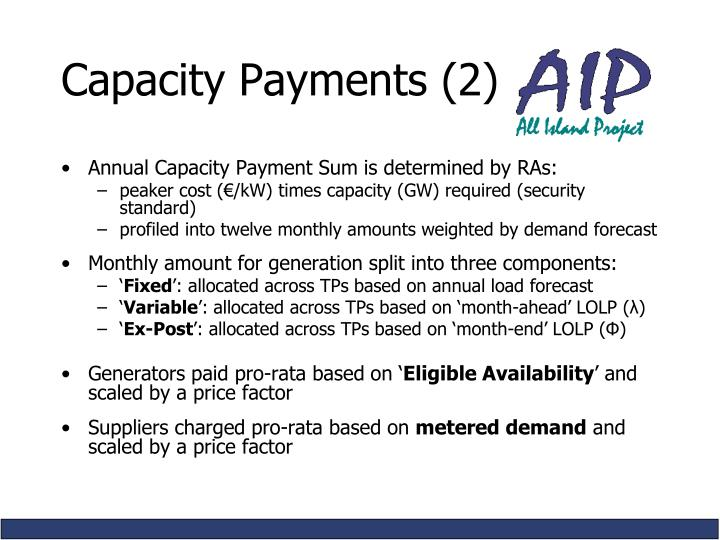 Capacity Payments (2)