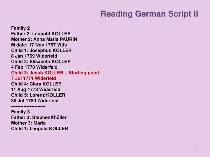 Reading German Script II