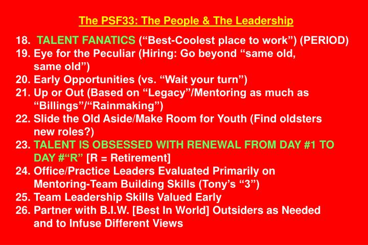 The PSF33: The People & The Leadership
