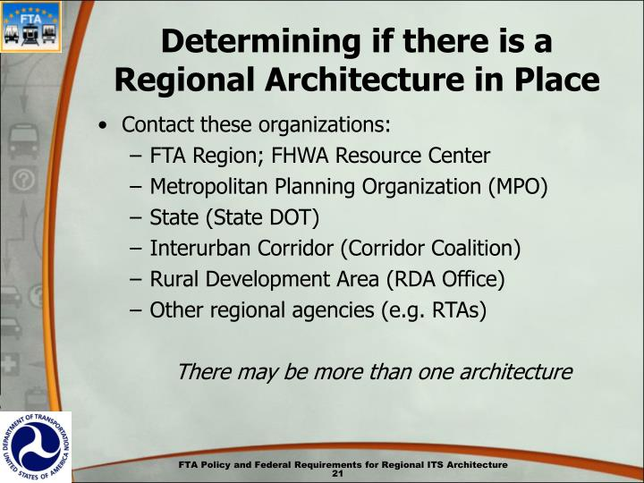Determining if there is a Regional Architecture in Place