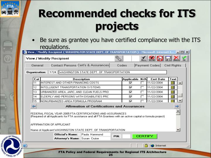 Recommended checks for ITS projects