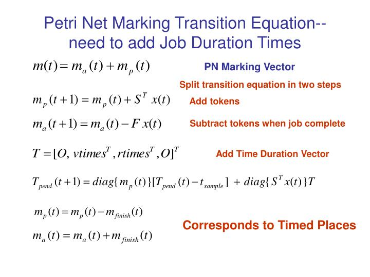 Petri Net Marking Transition Equation--need to add Job Duration Times