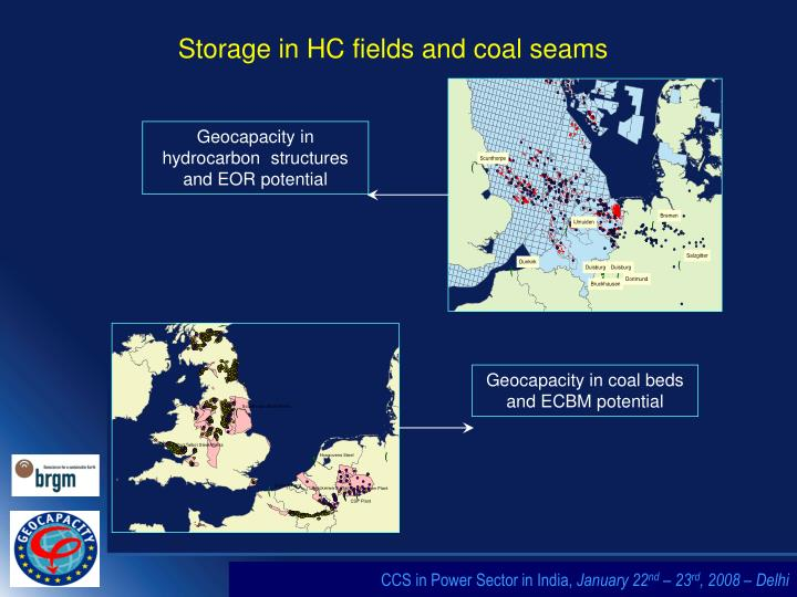 Storage in HC fields and coal seams