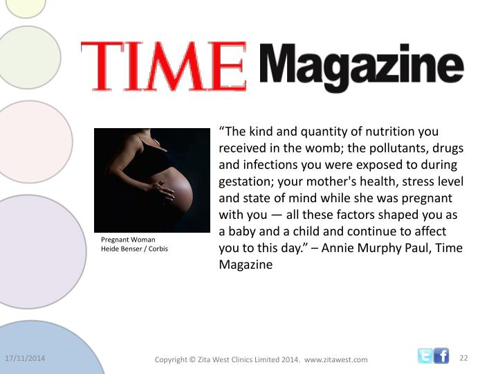 """""""The kind and quantity of nutrition you received in the womb; the pollutants, drugs and infections you were exposed to during gestation; your mother's health, stress level and state of mind while she was pregnant with you — all these factors shaped you as a baby and a child and continue to affect you to this day."""" – Annie Murphy Paul, Time Magazine"""