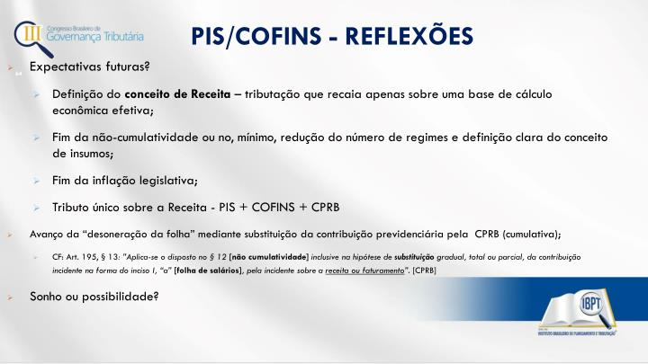 PIS/COFINS - REFLEXÕES