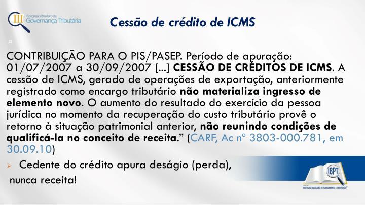 Cessão de crédito de ICMS