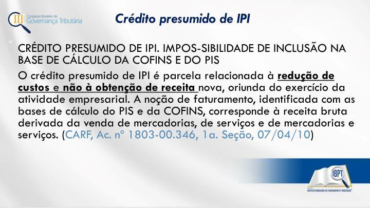 Crédito presumido de IPI
