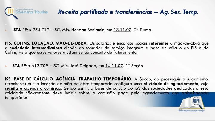 Receita partilhada e transferências – Ag. Ser. Temp.