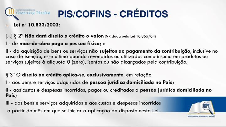 PIS/COFINS - CRÉDITOS