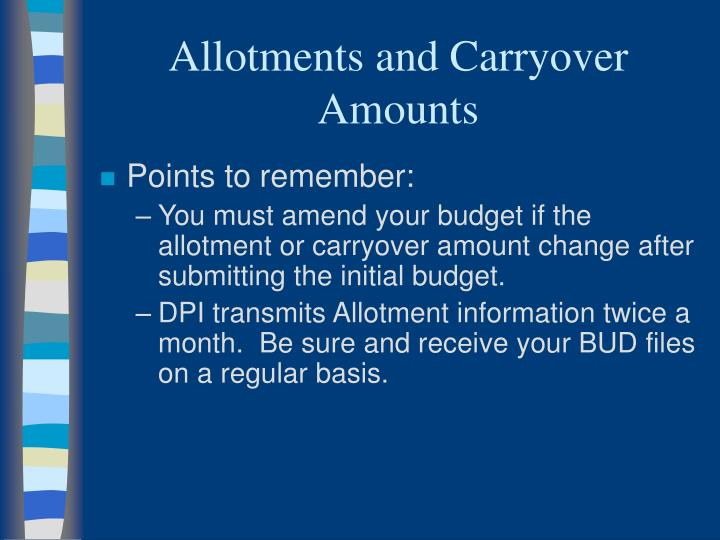 Allotments and Carryover Amounts