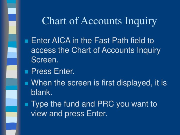 Chart of Accounts Inquiry