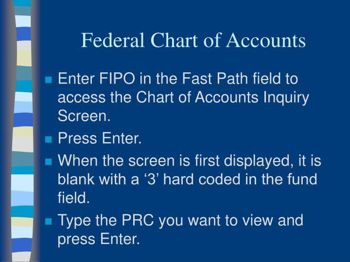 Federal Chart of Accounts