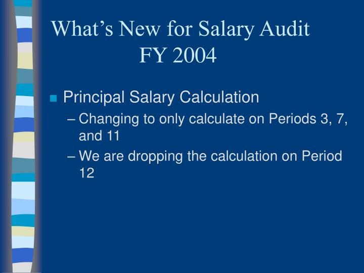What's New for Salary Audit