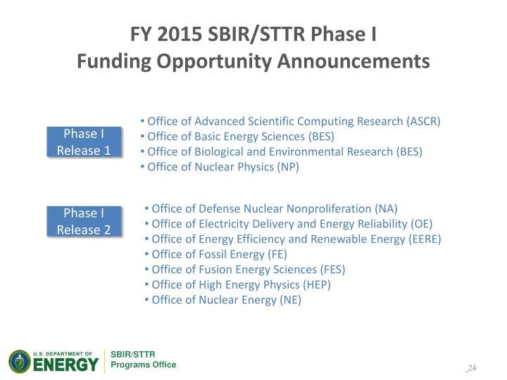 FY 2015 SBIR/STTR Phase I