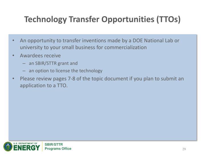 Technology Transfer Opportunities (TTOs)