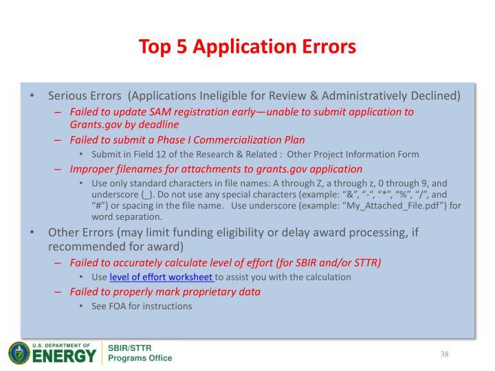Top 5 Application Errors