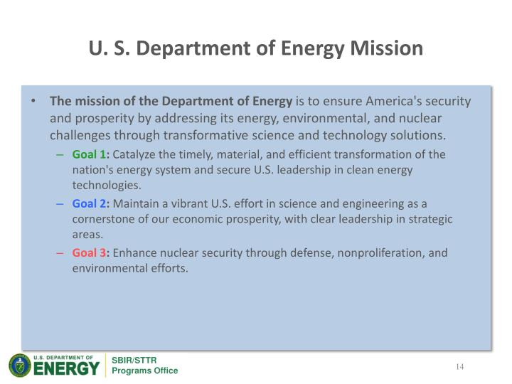 U. S. Department of Energy Mission