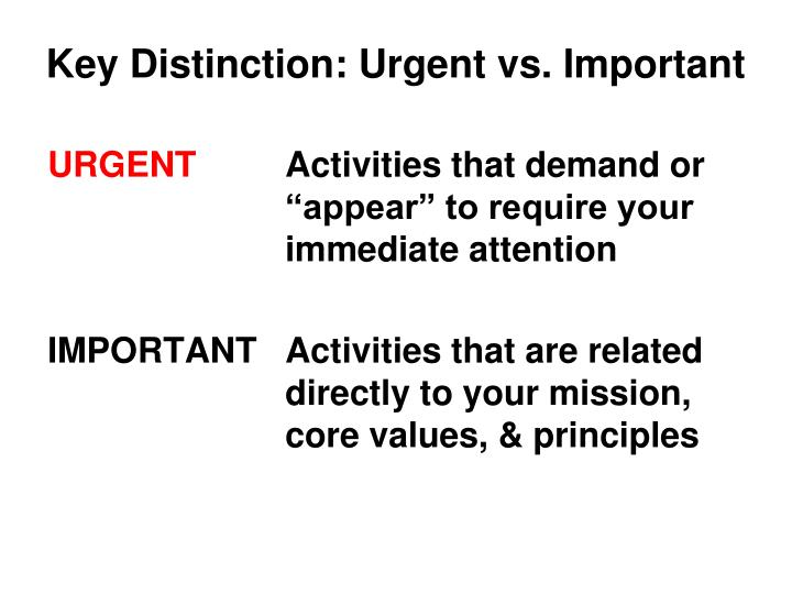 Key Distinction: Urgent vs. Important