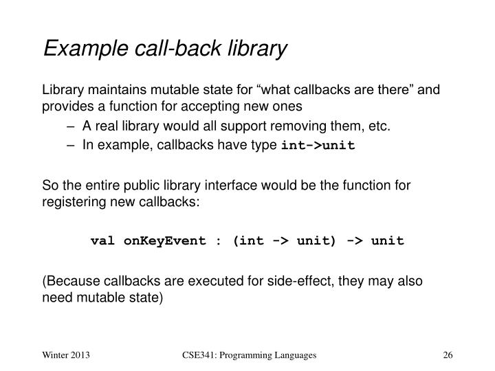 Example call-back library
