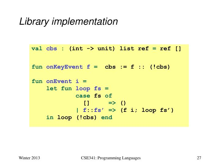 Library implementation