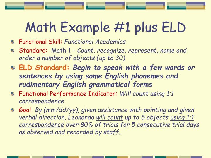 Math Example #1 plus ELD