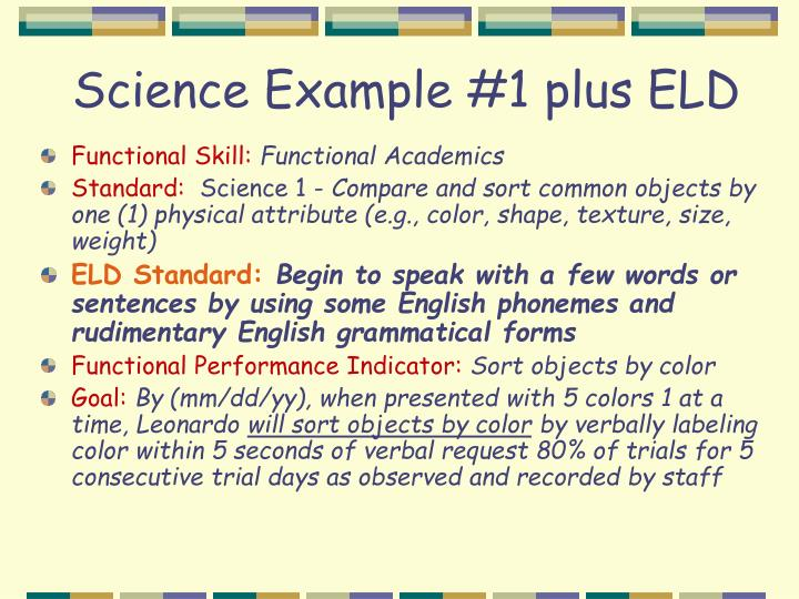 Science Example #1 plus ELD