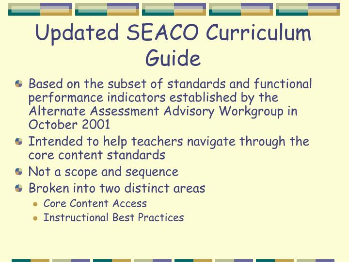 Updated SEACO Curriculum Guide