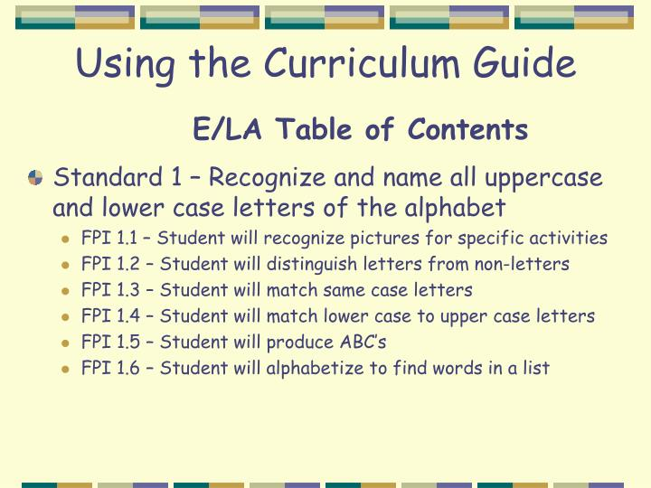 Using the Curriculum Guide
