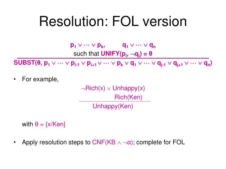 Resolution: FOL version